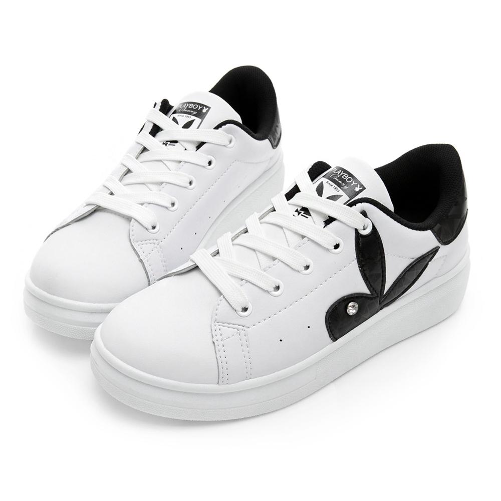 PLAYBOY 簡約仿皮綁帶休閒鞋-白黑-Y52201C