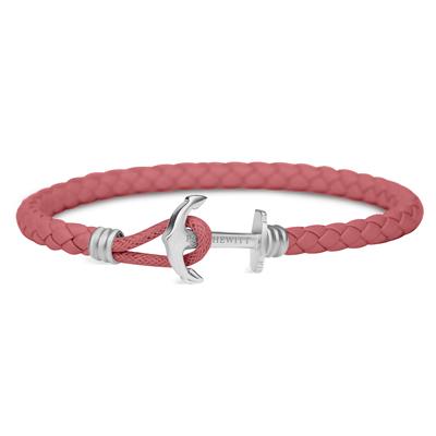 PAUL HEWITT  單繩釦皮革手環-銀色X莓果色