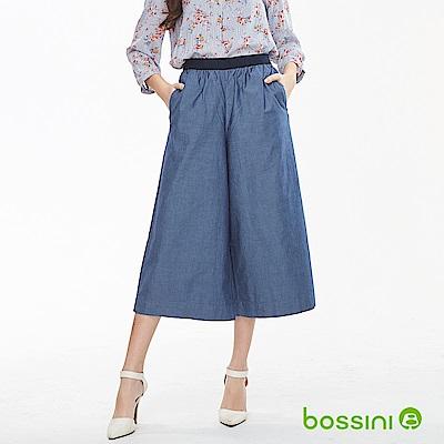 bossini女裝-素色七分寬褲01牛仔藍