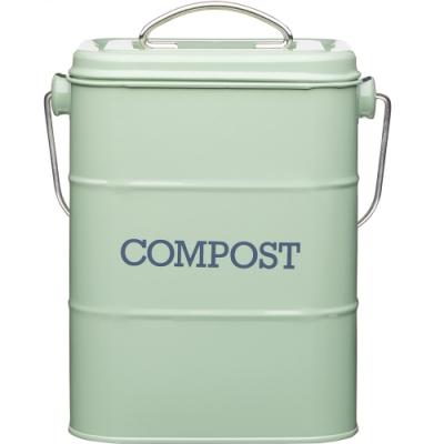 《KitchenCraft》復古提式廚餘桶(綠3L)