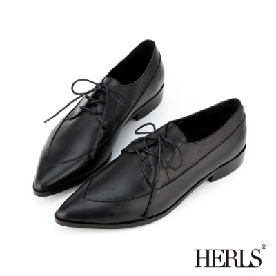 HERLS 全真皮拼接造型尖頭牛津紳士鞋-黑色