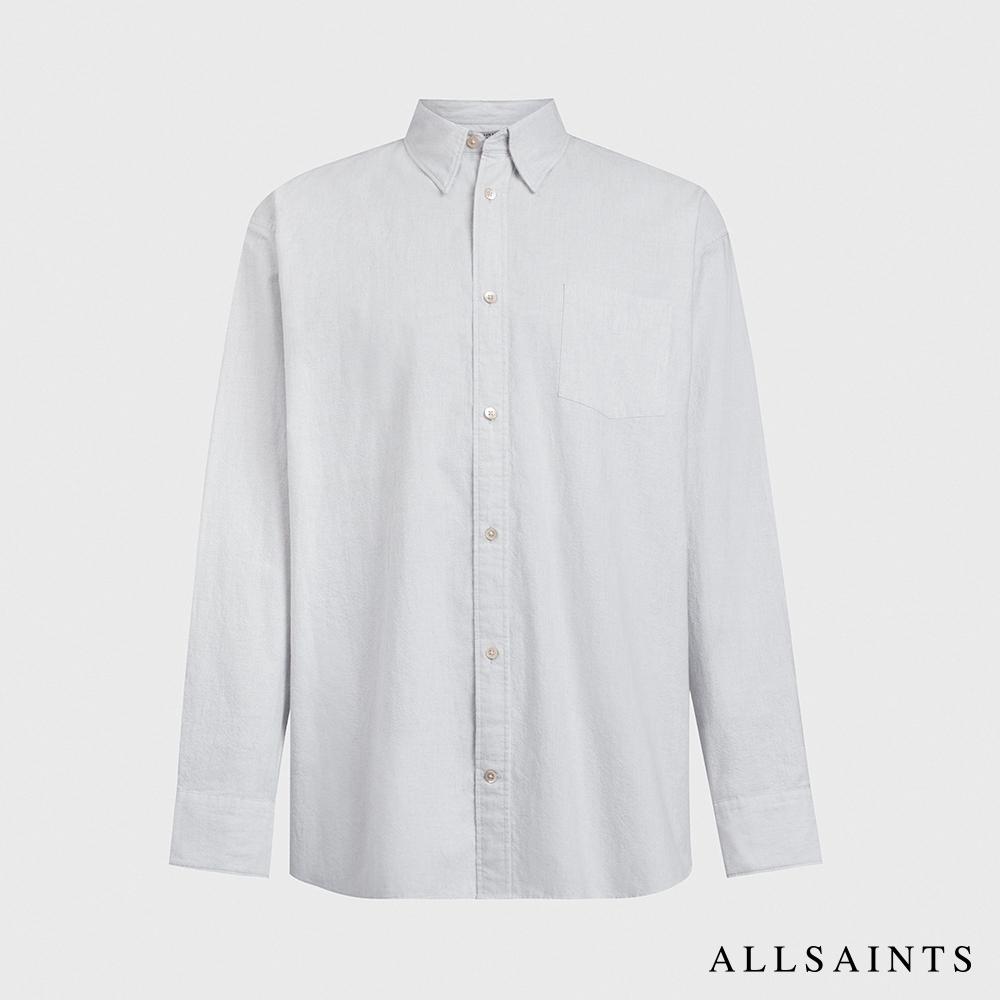 ALLSAINTS BONSALL 低調簡約直條紋寬鬆棉質混紡長袖襯衫-米白