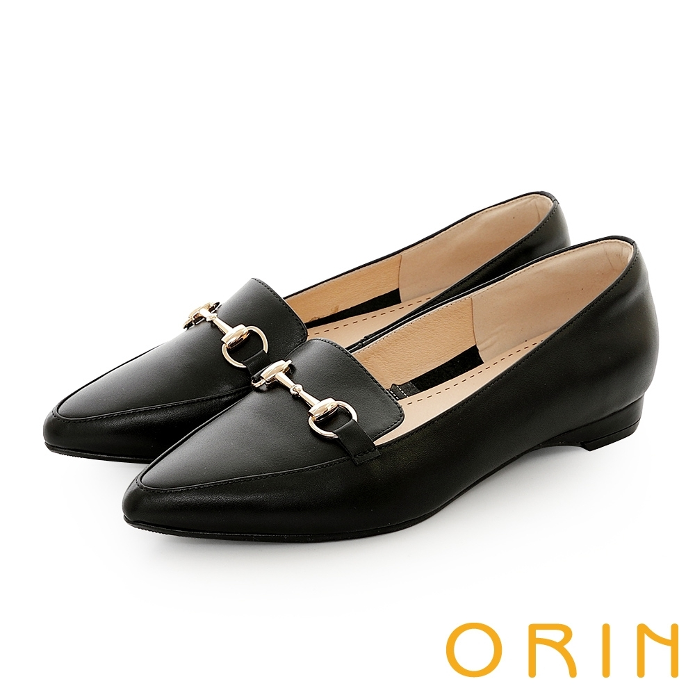 ORIN 氣質馬銜釦百搭樂福 女 平底鞋 黑色