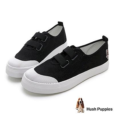 Hush Puppies 鬆緊直套式懶人鞋-黑色