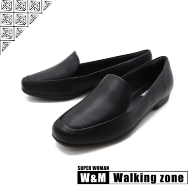 WALKING ZONE SUPER WOMAN系列 百搭方頭平底樂福鞋 女鞋-黑(另有卡其.白)