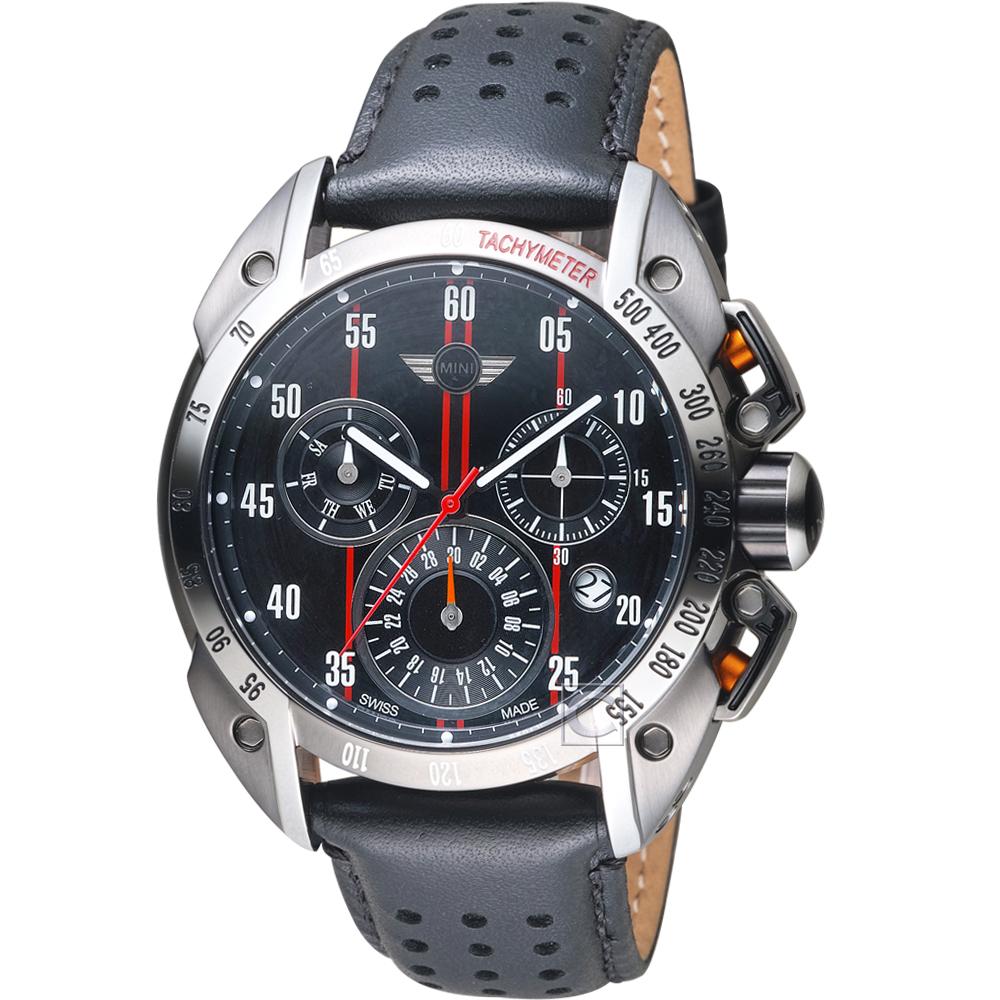 MINI Swiss Watches極速運動計時腕錶(MINI-160117)-黑x紅邊