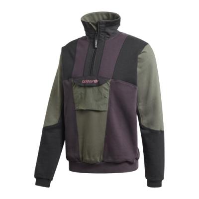adidas 大學T Adventure Sweatshirt 男 愛迪達 三葉草 半拉鍊 立領 撞色 街頭 紫 綠 GD5575