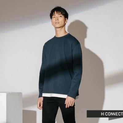 H:CONNECT 韓國品牌 男裝-立體車線拼接上衣-藍