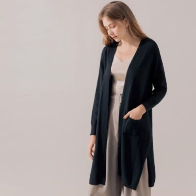 AIR SPACE 舒適質感長版寬鬆罩衫(黑)