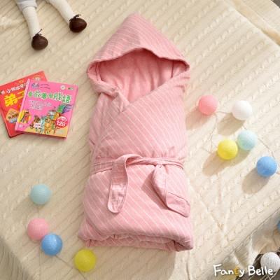 義大利Fancy Belle 斯卡線曲-粉 色坊針織兒童包巾兩用被(90*90CM)