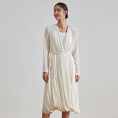 旅途原品_悠悠_原創設計羊毛褶皺寬鬆連衣裙-米白色
