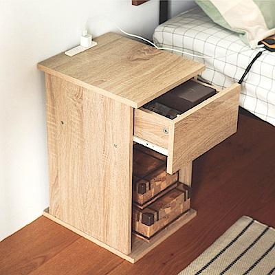 [時時樂限定]完美主義 簡約床頭櫃/插座式/收納櫃/收納櫃(2色)