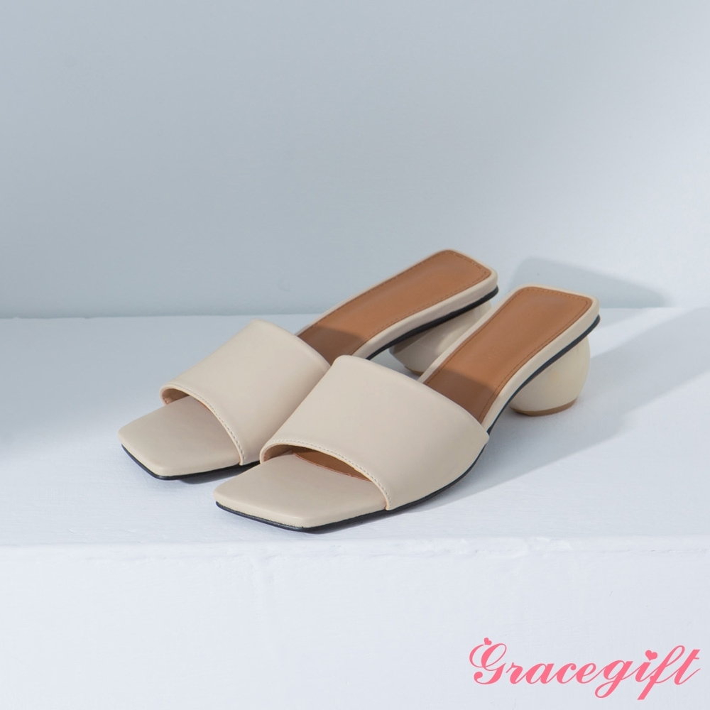 Grace gift-方頭寬帶圓跟涼拖鞋 米白