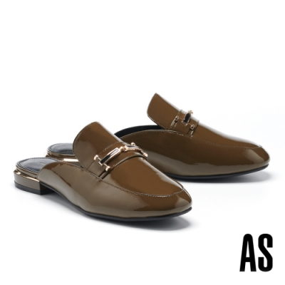 穆勒鞋 AS 摩登時髦滴油金釦全真皮方頭平底穆勒拖鞋-綠