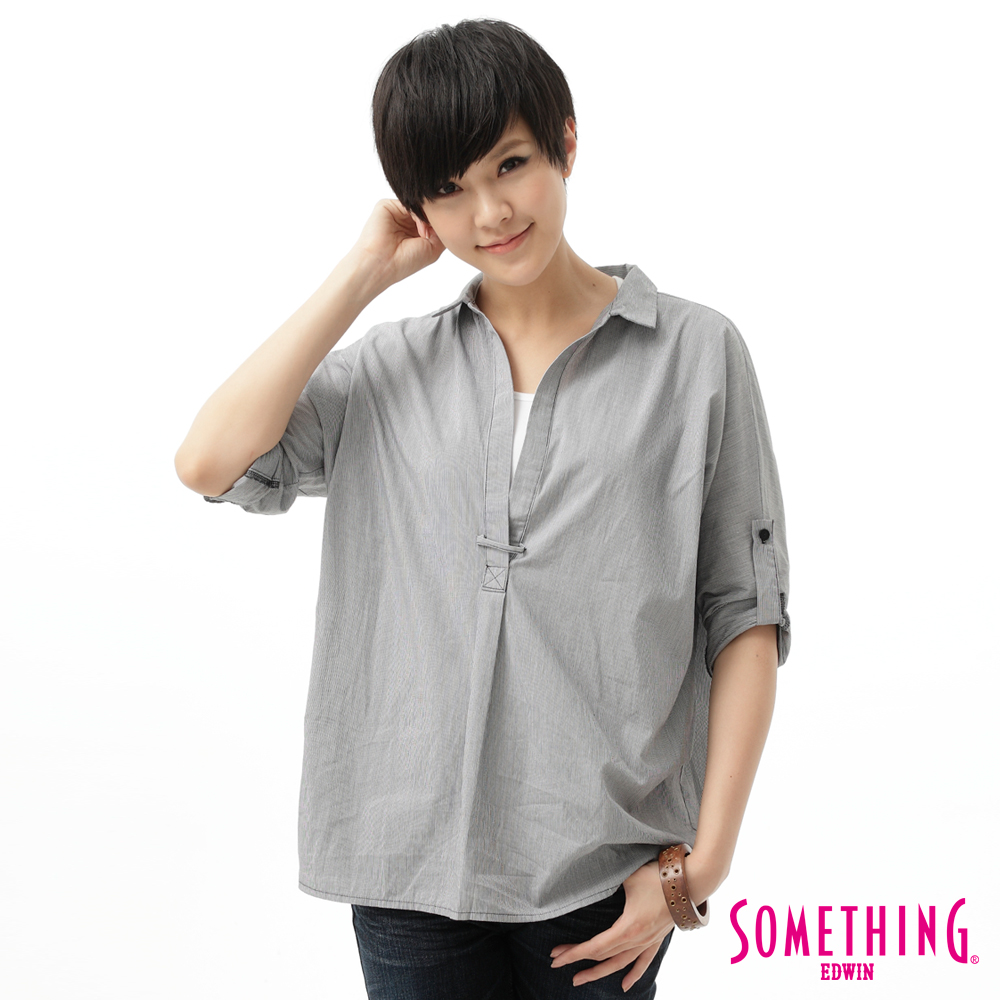 SOMETHING 襯衫 細條平織襯衫-女-黑色