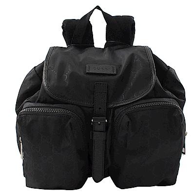GUCCI 經典GG輕尼龍雙口袋輕巧後背包(黑)