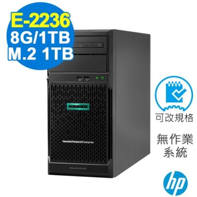 HP ML30 Gen10 伺服器 E-2236/8G/660P 1TB+1TB/FD