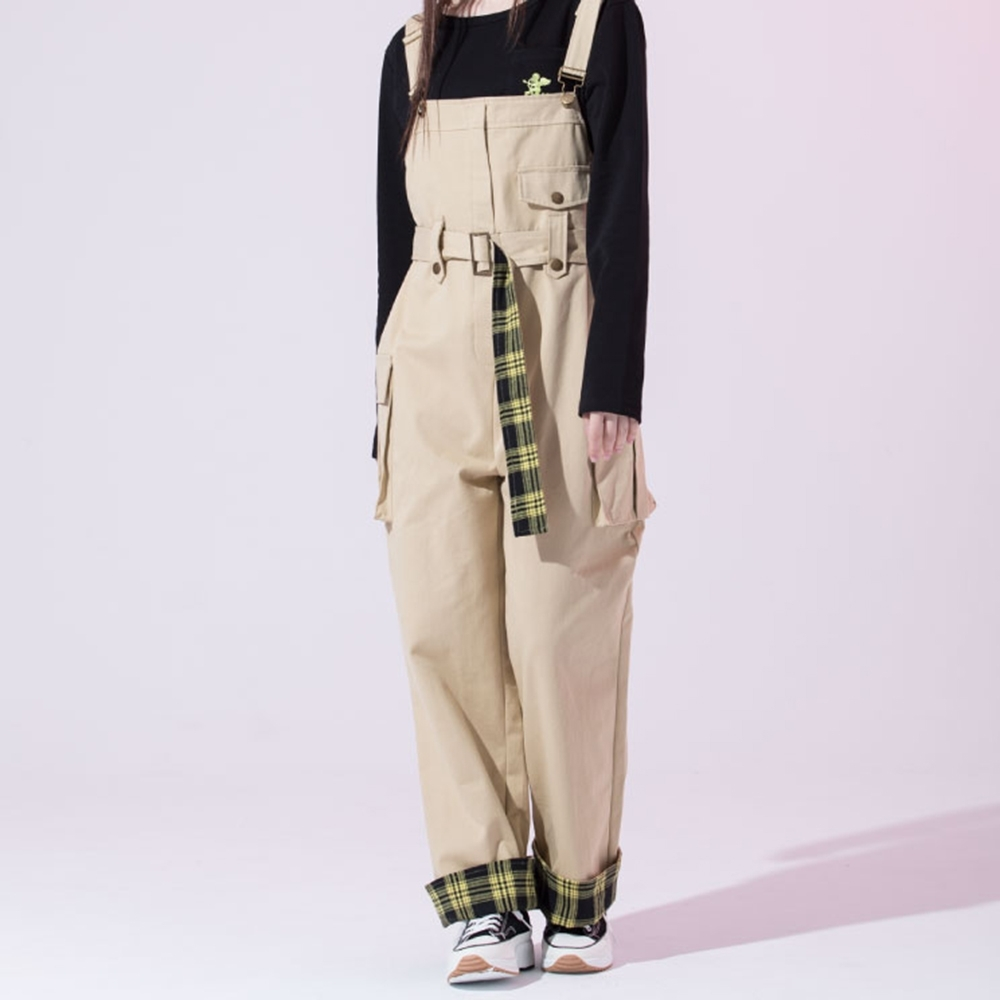 LAKING.GIRLS-格紋工裝寬鬆吊帶長褲 product image 1
