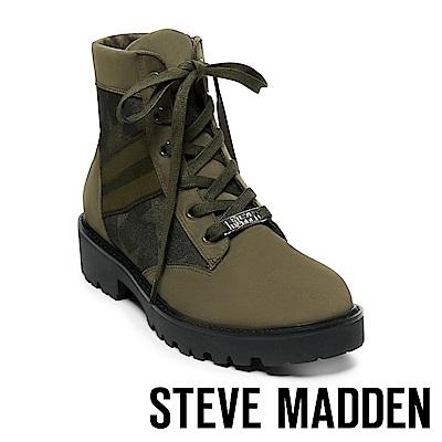 STEVE MADDEN-HANDLE 經典LOGO綁帶拼接短筒靴-墨綠