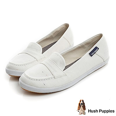 Hush Puppies 輕牛仔咖啡紗摩卡娃娃鞋-白色