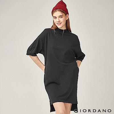 GIORDANO 女裝小高領七分泡泡袖素色連身裙-09 標誌黑