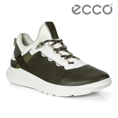 ECCO ST.1 LITE M 拼接撞色運動休閒鞋 男-森綠/白