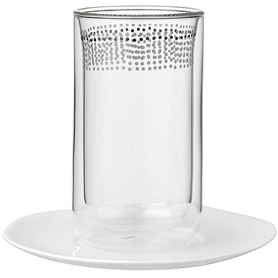 《RADER》雙層玻璃杯+點心盤(愛心350ml)