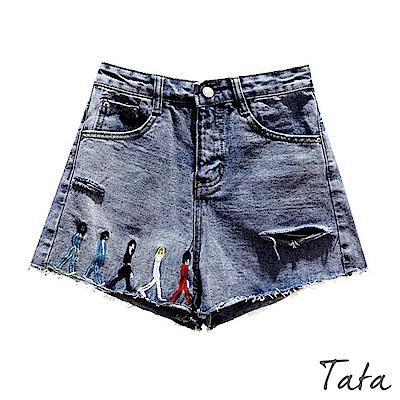 人偶刺繡割破牛仔短褲 TATA