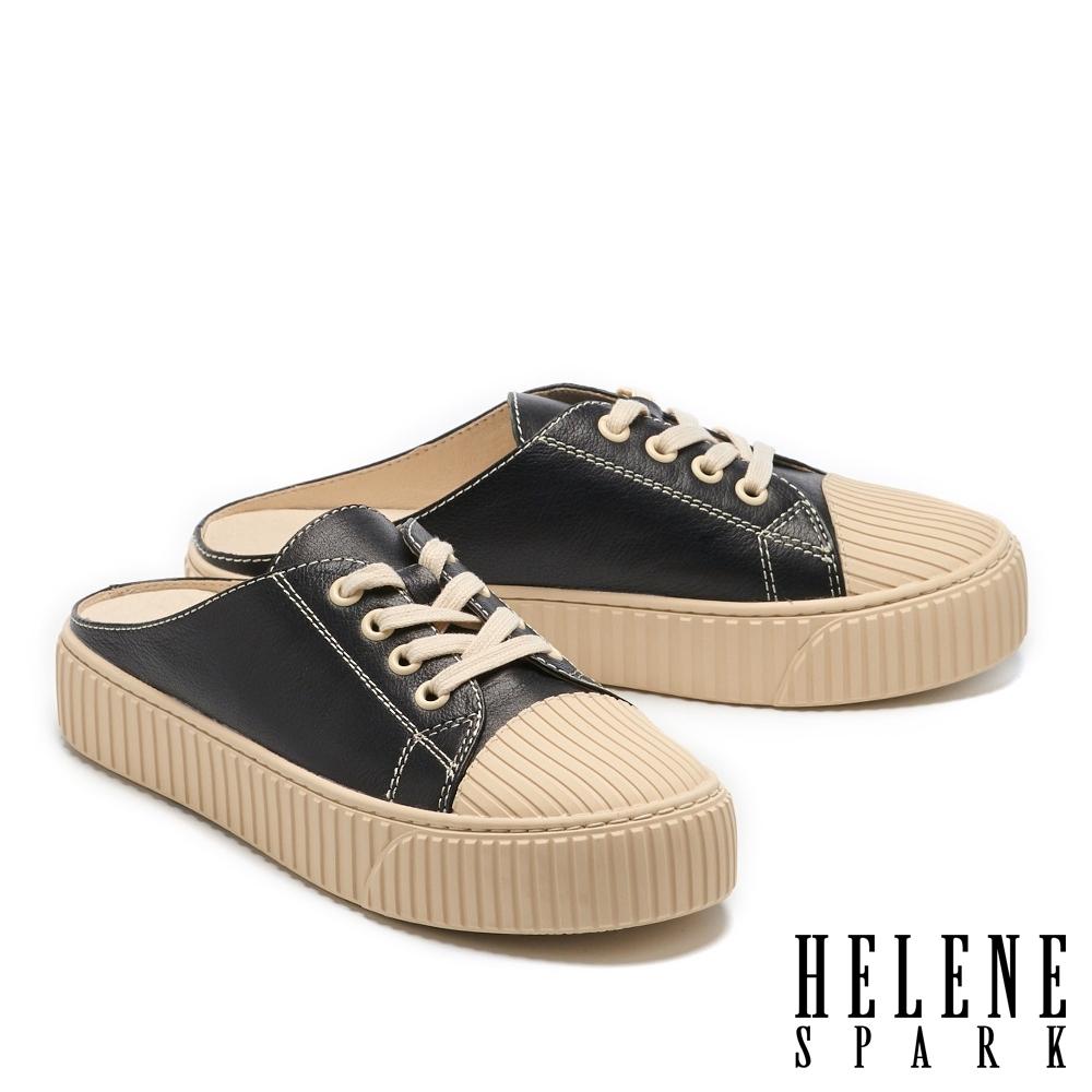 拖鞋 HELENE SPARK 復古感縫線牛皮厚底休閒拖鞋-黑