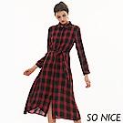 SO NICE蘇格蘭格紋襯衫式洋裝