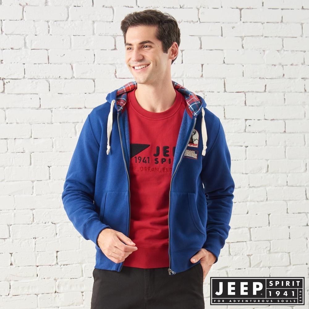 JEEP 美式探險休閒連帽外套-男女適穿 -深藍色