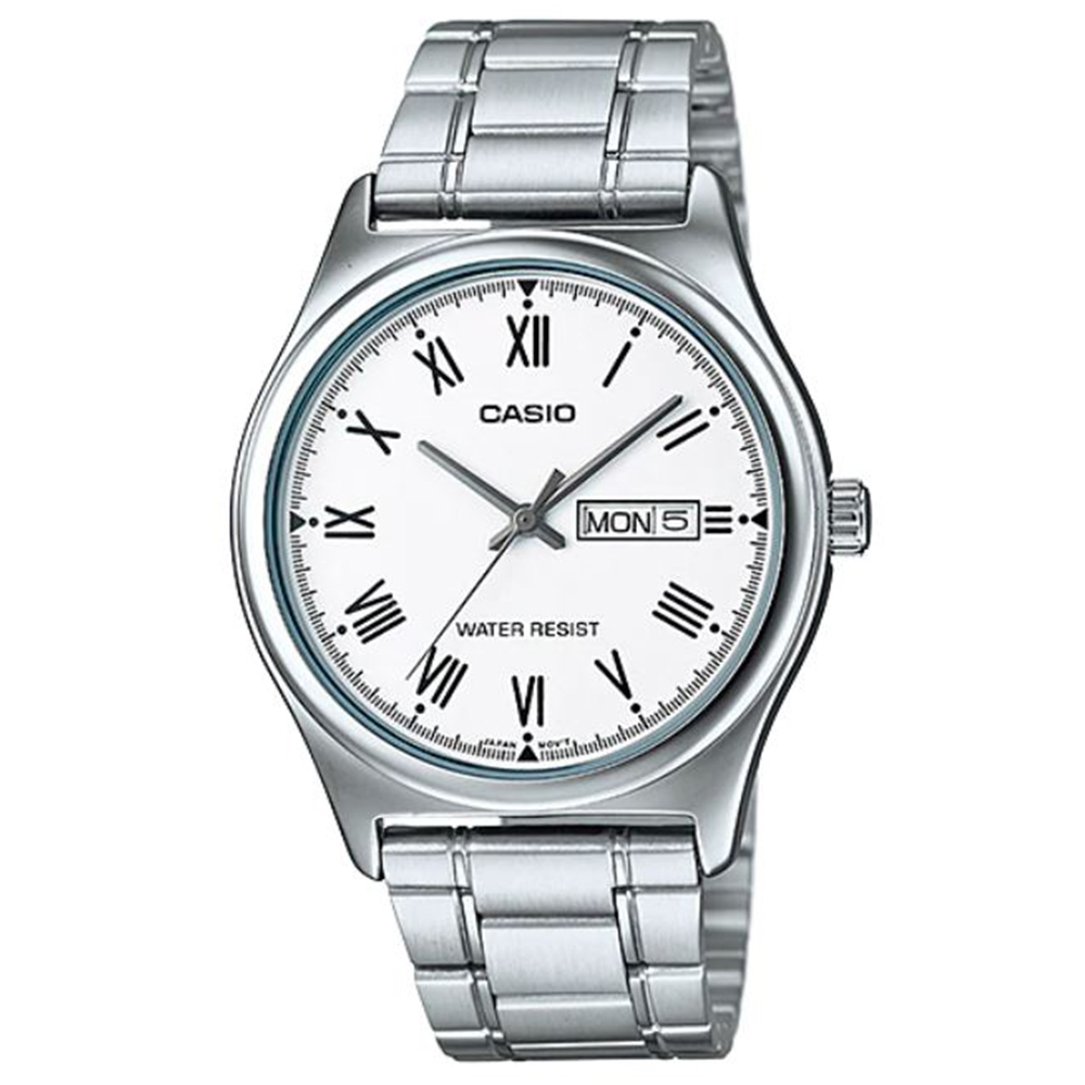 CASIO 簡約風星期日期顯示羅馬指針不鏽鋼腕錶-白(MTP-V006D-7B)/38mm
