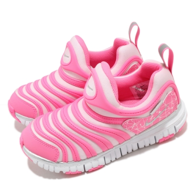 Nike 慢跑鞋 Dynamo Free 運動 童鞋 經典款 毛毛蟲 套腳 舒適 中童 粉 銀 DC3272606