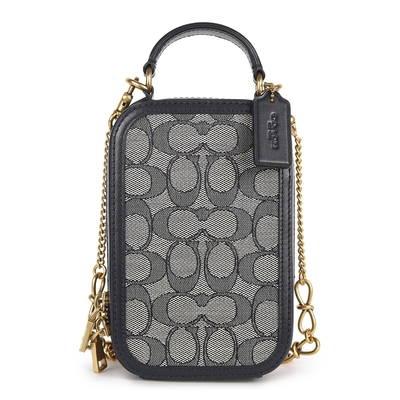 COACH ALIE CAMERA 專櫃款 經典滿版C LOGO緹花織布手提/斜背兩用小包-藍黑色