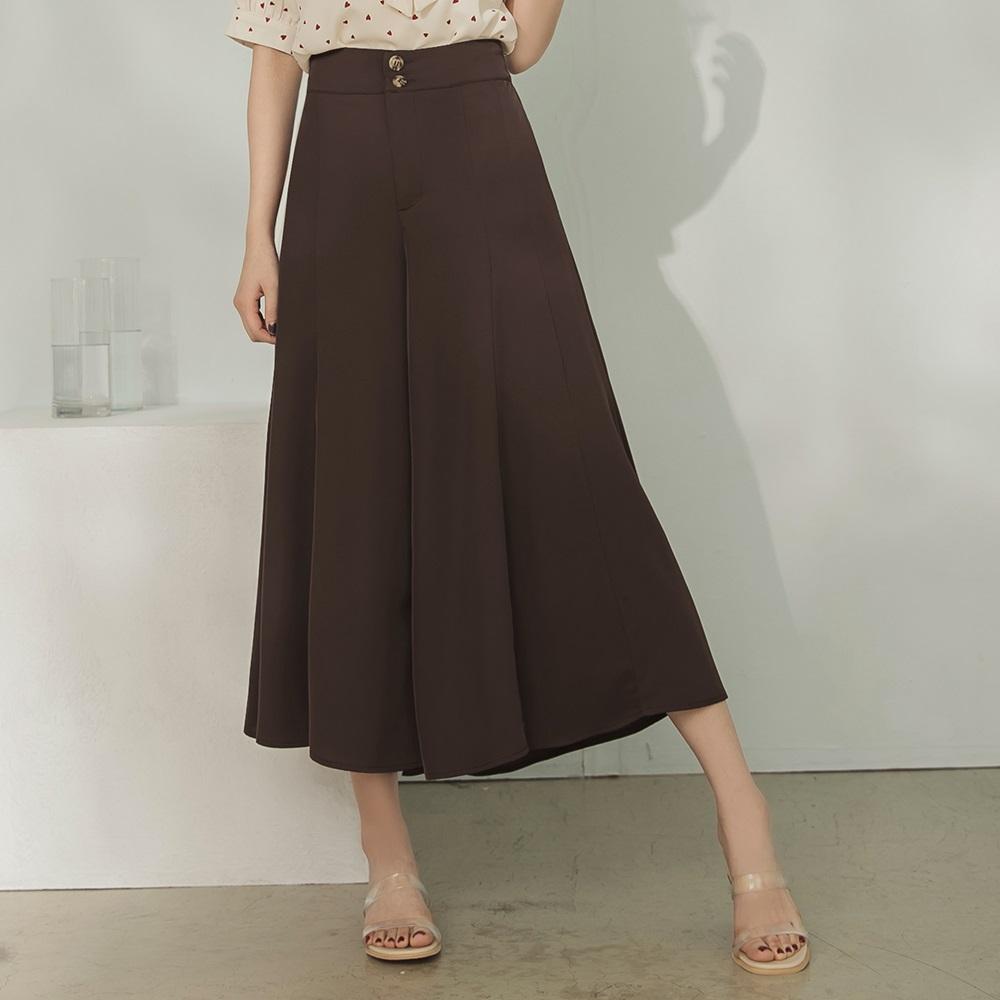 純色不易皺後鬆緊寬腰排釦飄逸長褲/褲裙-OB大尺碼