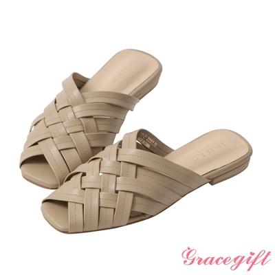 Grace gift-方頭編織低跟穆勒鞋 灰褐