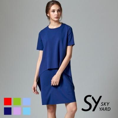 【SKY YARD 天空花園】都會休閒素色不規則剪裁假二件式短袖洋裝-深藍