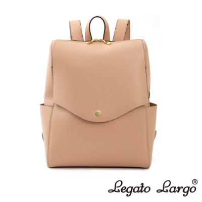 Legato Largo 驚異的輕量化 小法式簡約線條 皮革後背包 櫻花粉