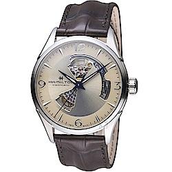 HAMILTON漢米爾頓 JazzMaster系列開芯機械錶(H32705521)-香檳色