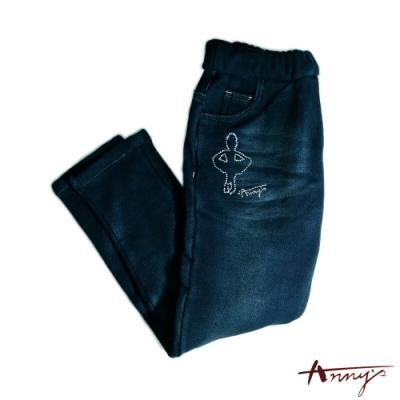 Annys可愛水鑽小小芭蕾女孩舒適刷毛鬆緊帶牛仔褲*7648藍
