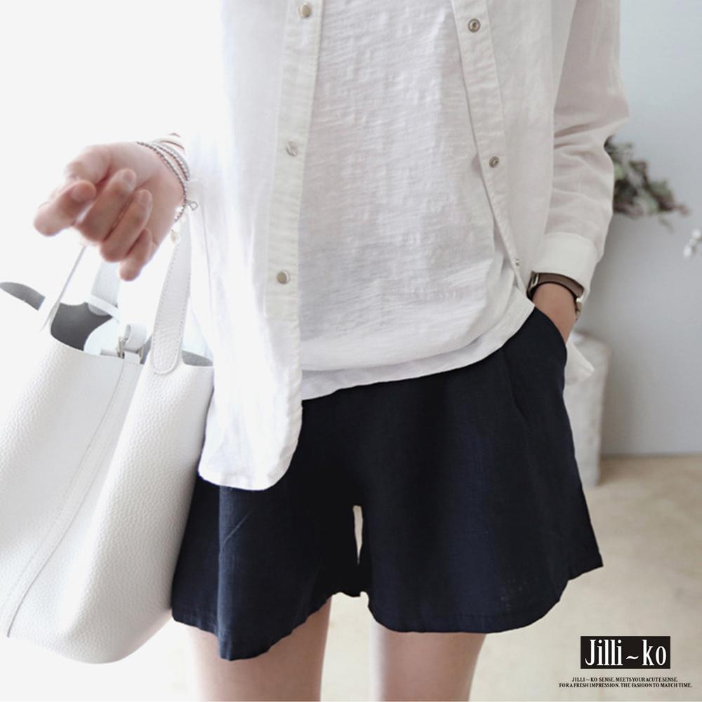 Jilli-ko 棉麻感寬鬆百搭短褲- 卡/深藍