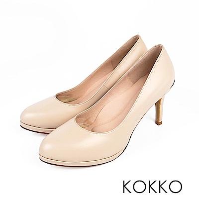 KOKKO - 優雅轉身真皮金屬環美型高跟鞋-輕盈米