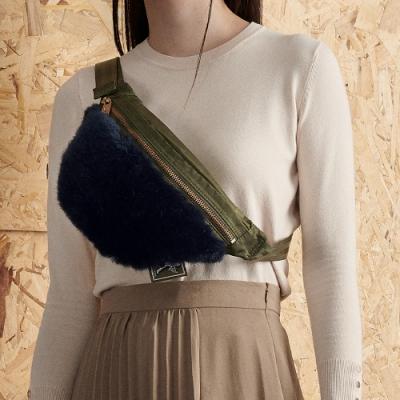 PORTER - 時髦微醺WINE O CLOCK時尚毛絨腰包 - 藍