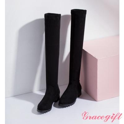 Grace gift-百搭素面絨布過膝靴 黑