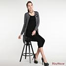 KeyWear奇威名品     華麗復古鑲蔥花式長版長袖針織外套-灰色