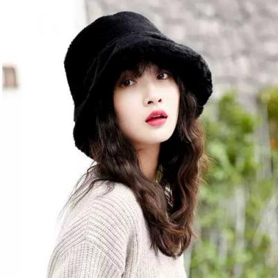 幸福揚邑 韓版時尚保暖毛絨漁夫帽盆帽平頂帽-黑