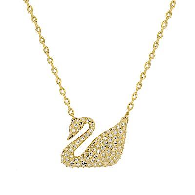 SWAROVSKI 施華洛世奇 天鵝造型水晶金色項鍊