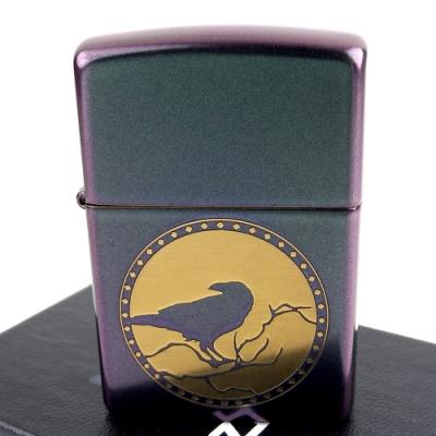 ZIPPO 美系~Iridescent虹彩塗裝-烏鴉圖案打火機