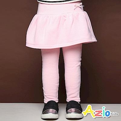 Azio Kids 長褲 蝴蝶結假兩件荷葉裙不倒絨內搭長褲(粉)