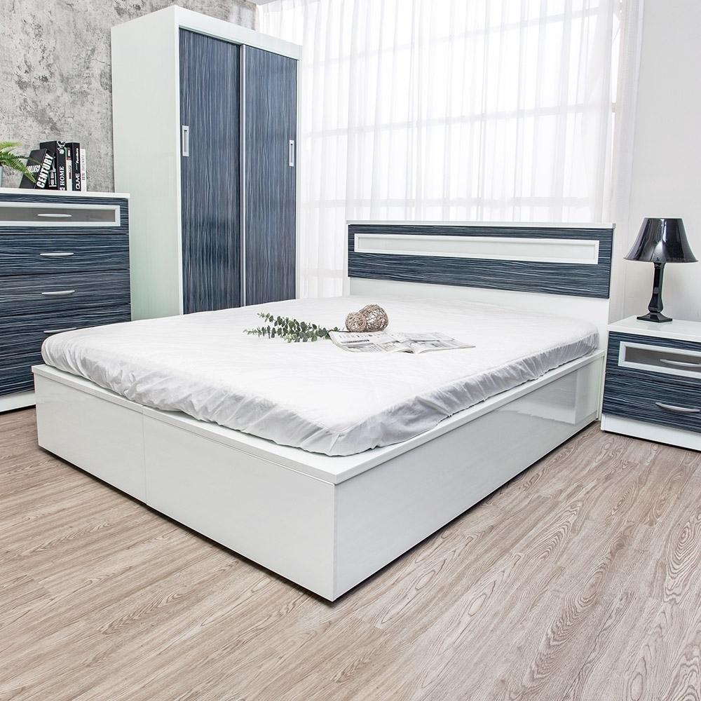 Birdie南亞塑鋼-5尺雙人加高型側掀塑鋼床組(床頭片+加高側掀床底)(鐵刀木色)